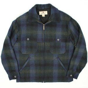 Woolrich Mens Coat M Navy Blue Green Blanket Plaid